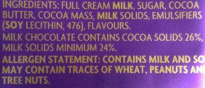 Dairymilk Chocolate - Ingrediënten