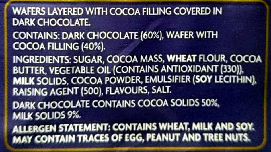 Breakaway Dark Chocolate - Ingredients - en