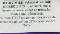Dairy Milk Chocolate Bar - Ingredients