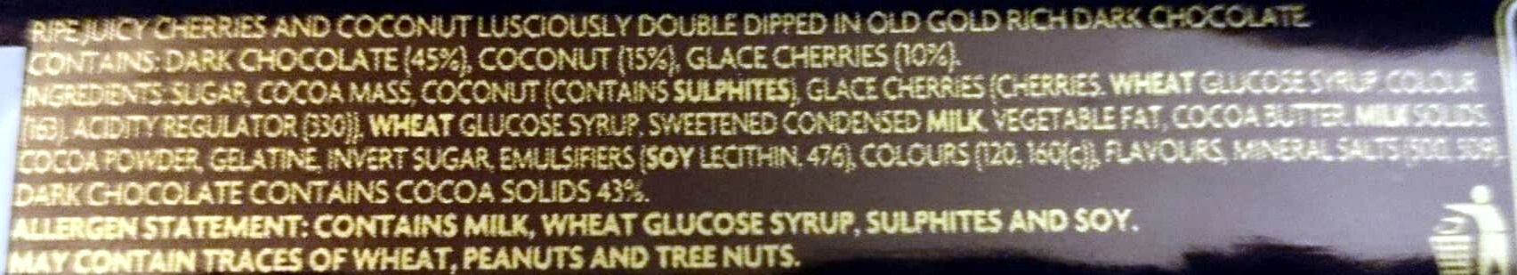 Cherry Ripe Special Edition Double Dipped - Ingredients - en