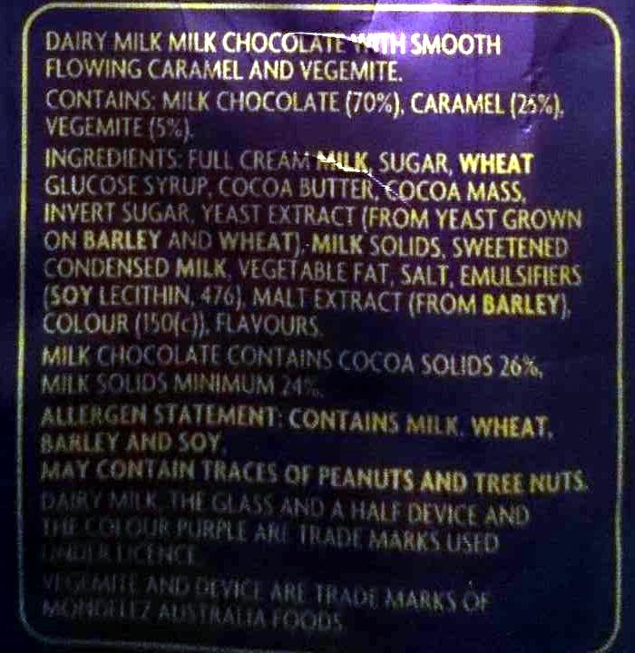 Dairy Milk Vegemite Limited Edition - Ingrediënten
