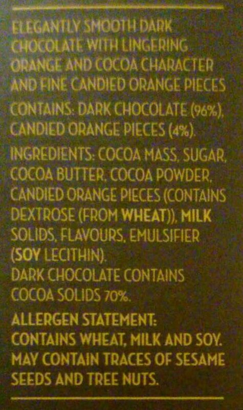 Dark Chocolate orange - Ingredients
