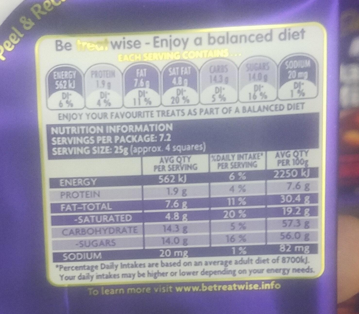 Cadbury Dairy Milk - Voedingswaarden - en