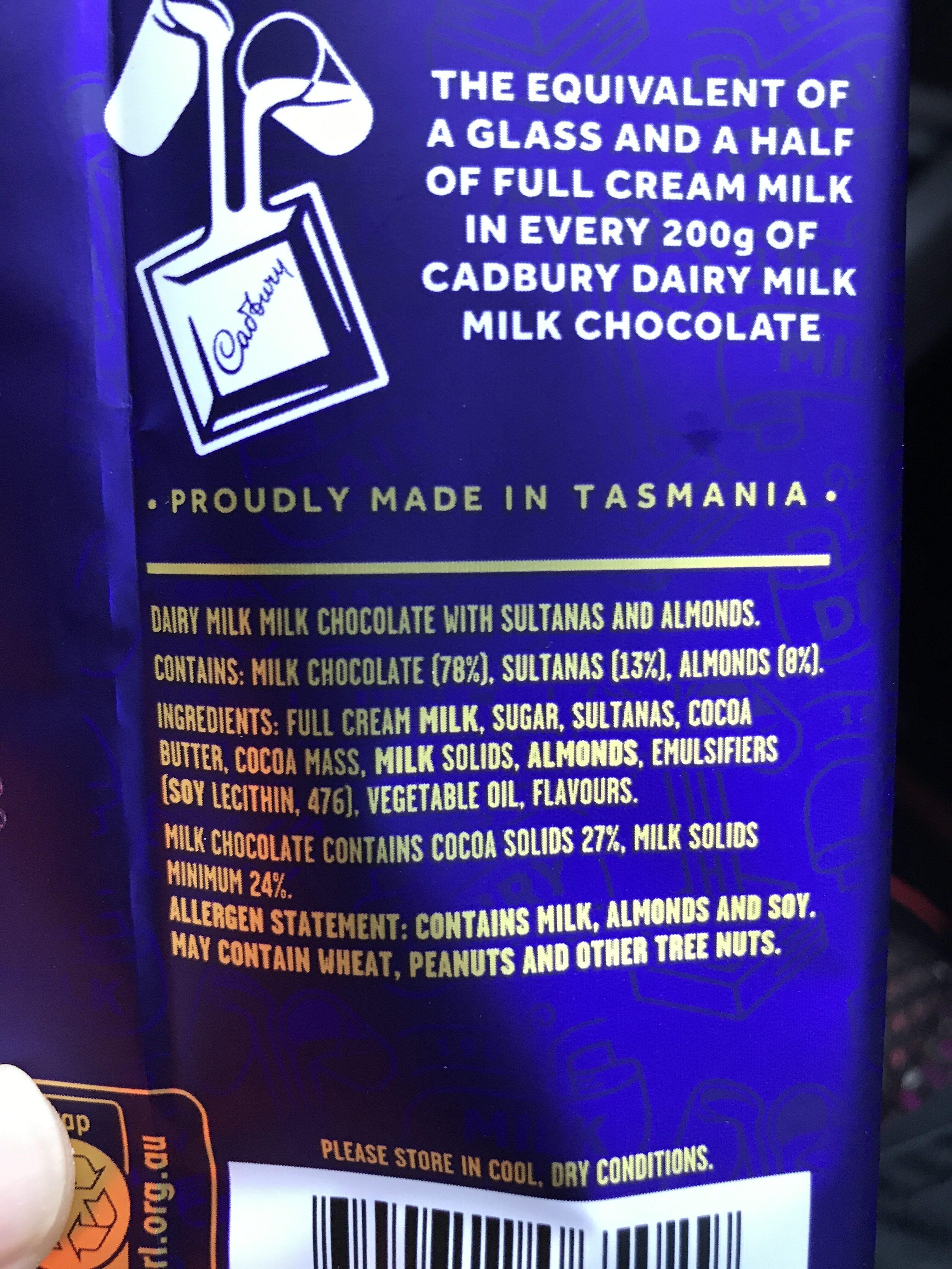 cadbury dairy milk - Nutrition facts - en