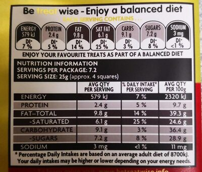 Old gold dark chocolate - Informations nutritionnelles - en
