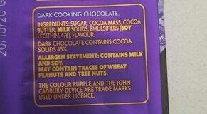 Cadbury Baking Dark chocolate - Ingredients - en