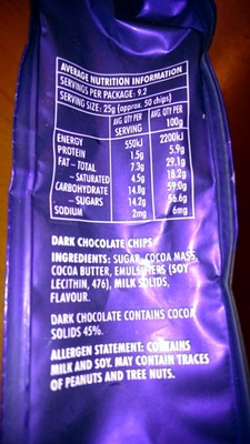 dark chocolate baking chips - Nutrition facts