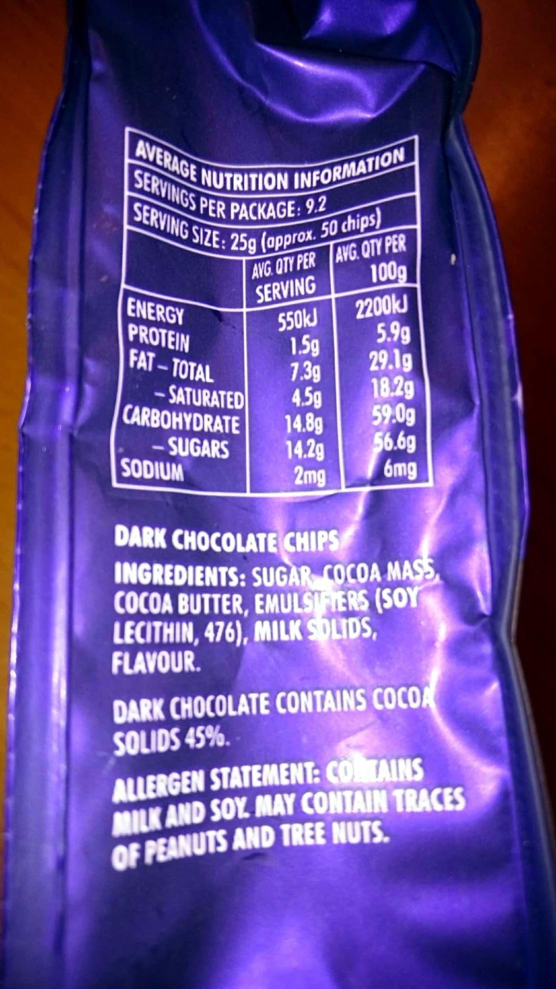 dark chocolate baking chips - Nutrition facts - en