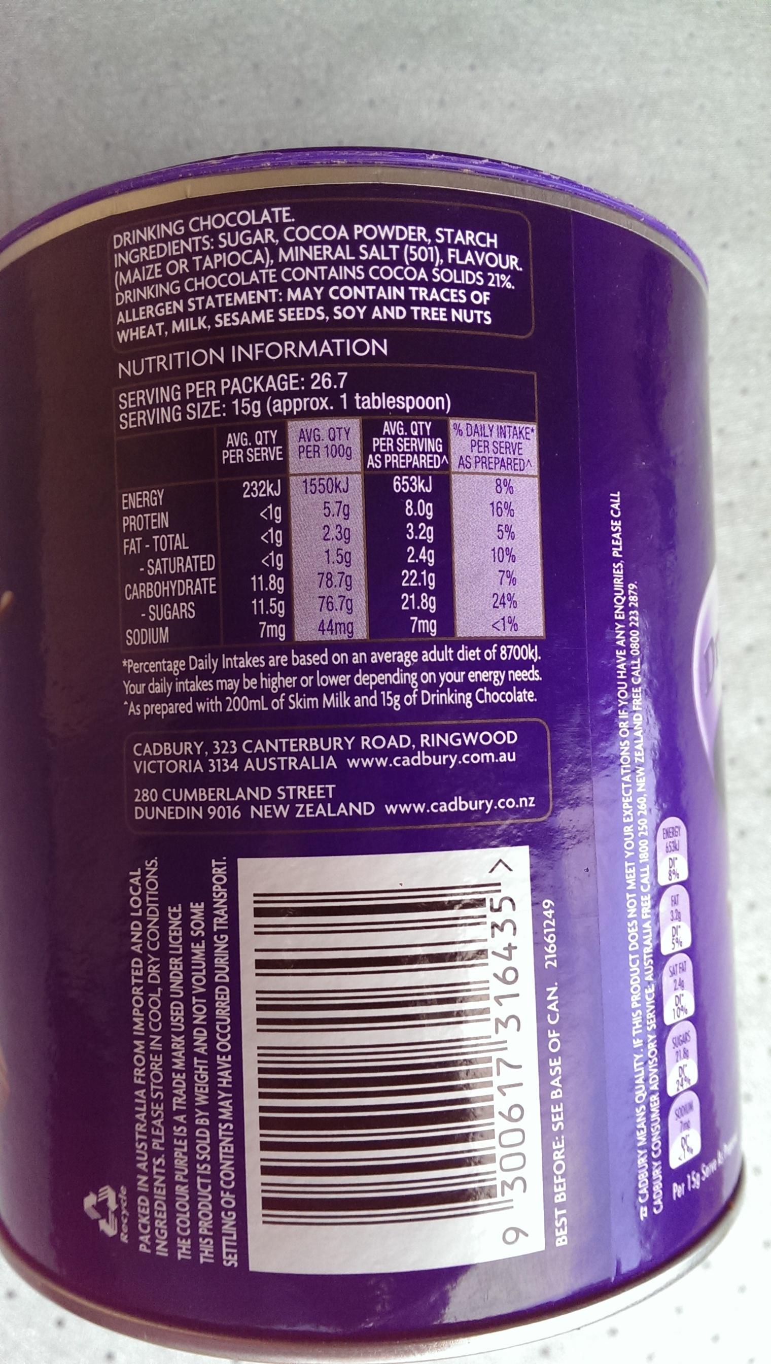 Cadbury Drinking Chocolate - Ingrediënten