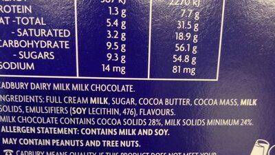 dairy milk chocolate eggs - Ingredients - en