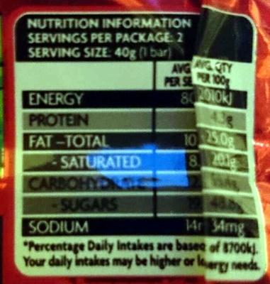 Cherry Ripe Twin Pack - Nutrition facts - en
