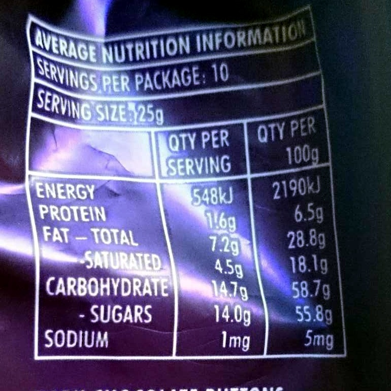 Real Dark Chocolate Melts - Nutrition facts - en