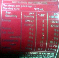 Creaming Soda - Nutrition facts