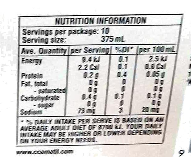 sugar free lemonade - Nutrition facts - en
