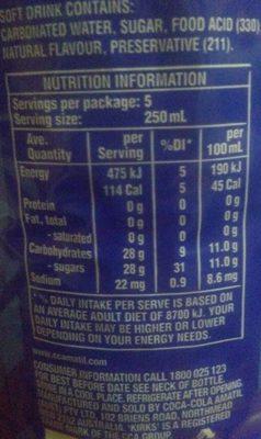 Lemonade original - Informations nutritionnelles - en