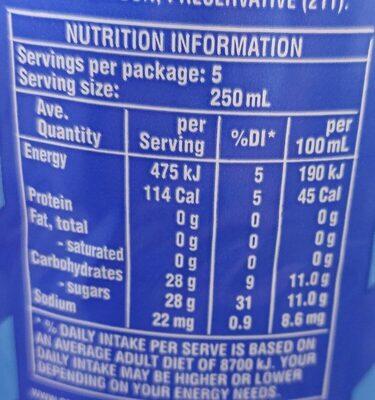 Lemonade original - Nutrition facts - en