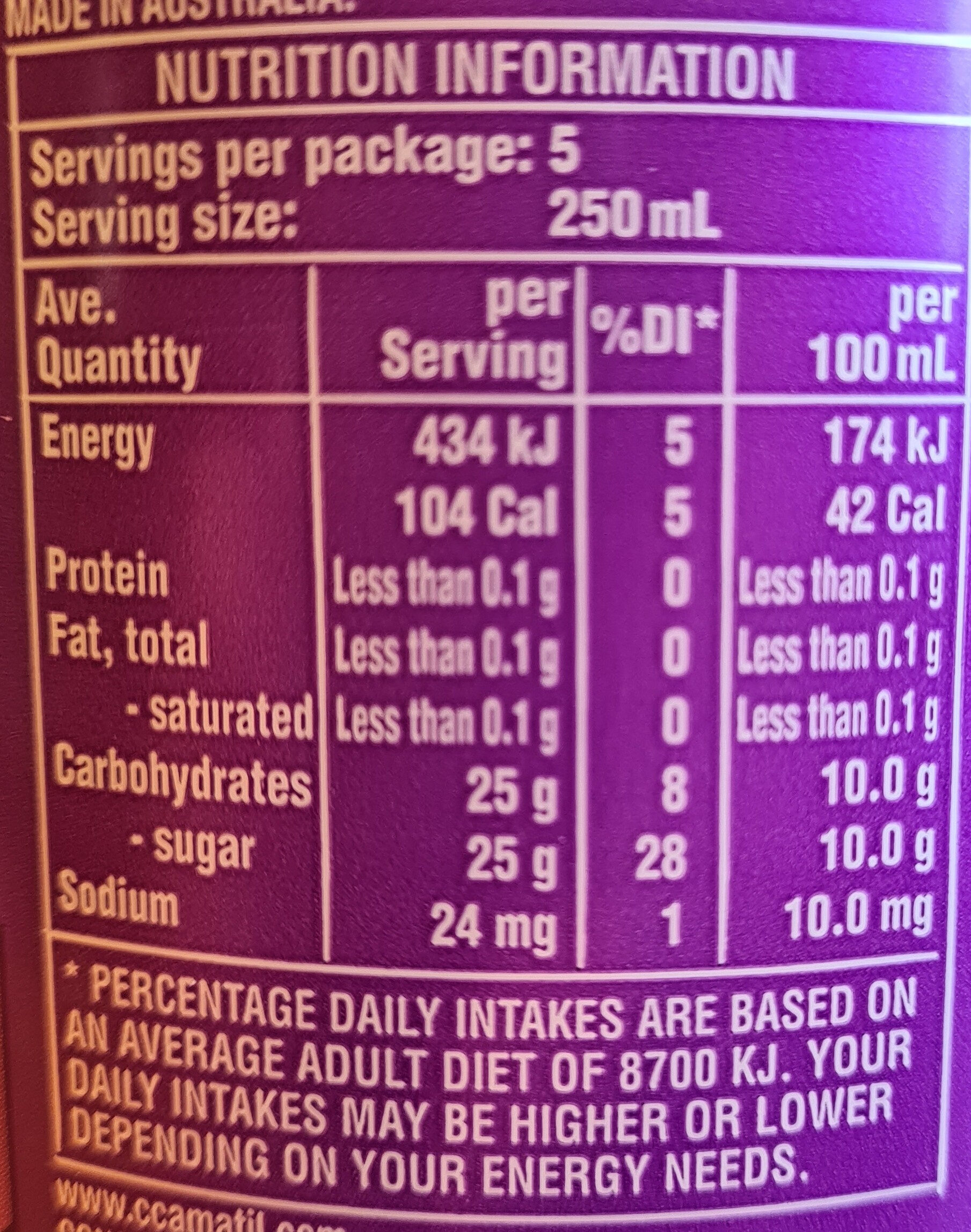 Pasito - Nutrition facts - en