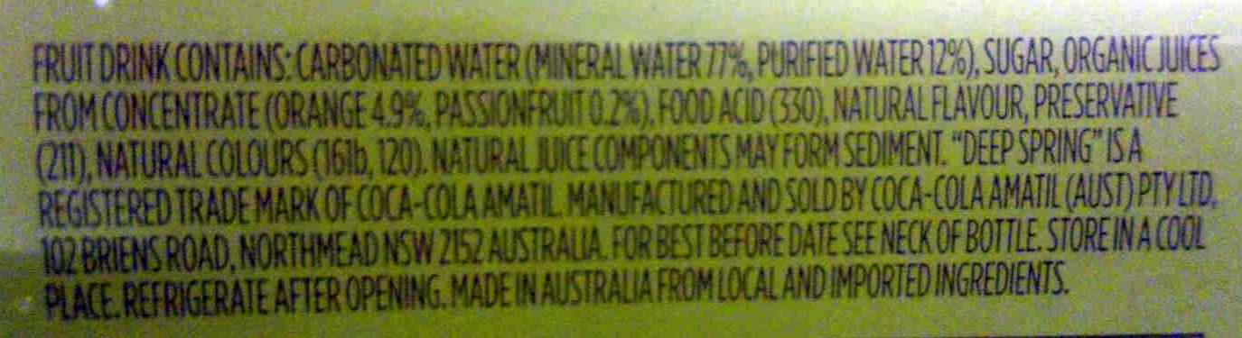 Deep Spring Orange & Passionfruit - Ingredients