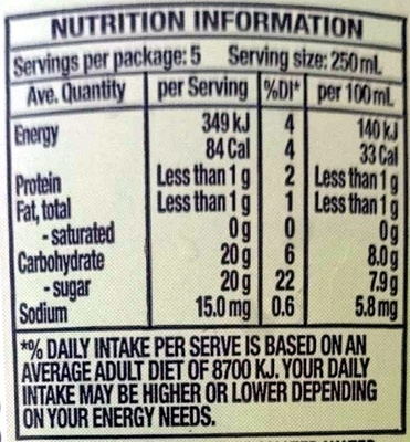Orange, Lemon & Lime - Nutrition facts - en