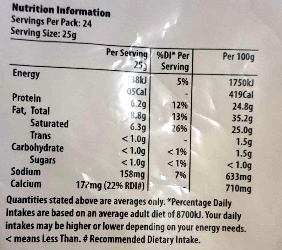Shredded Tasty Cheese - Nutrition facts - en
