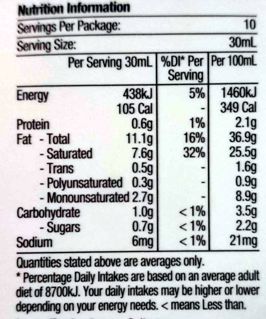 Sour Cream For Dolloping and Cooking - Nutrition facts - en