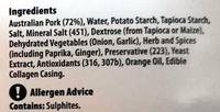 Australian Pork - 8 Aussie Pork Sausages - Ingredients
