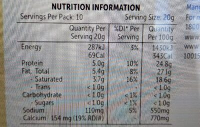 Swiss Cheese Slices - Nutrition facts - en