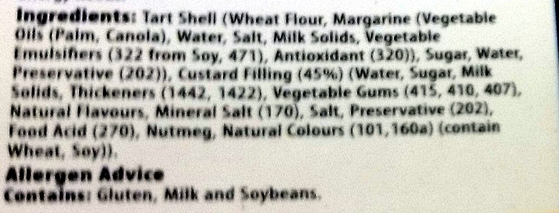 4 Custard Tarts - Ingredients