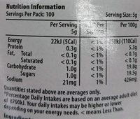Minced Garlic - Nutrition facts