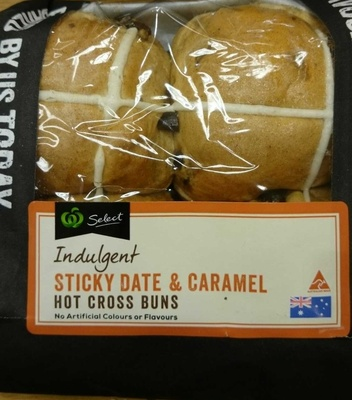 Indulgent Sticky Date & Caramel Hot Cross Buns - Product
