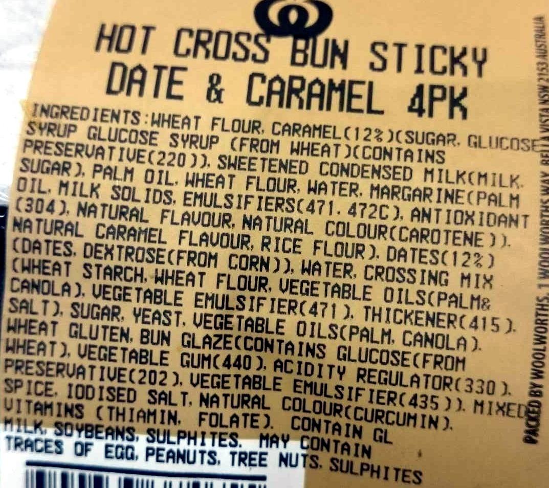 Indulgent Sticky Date & Caramel Hot Cross Buns - Ingredients