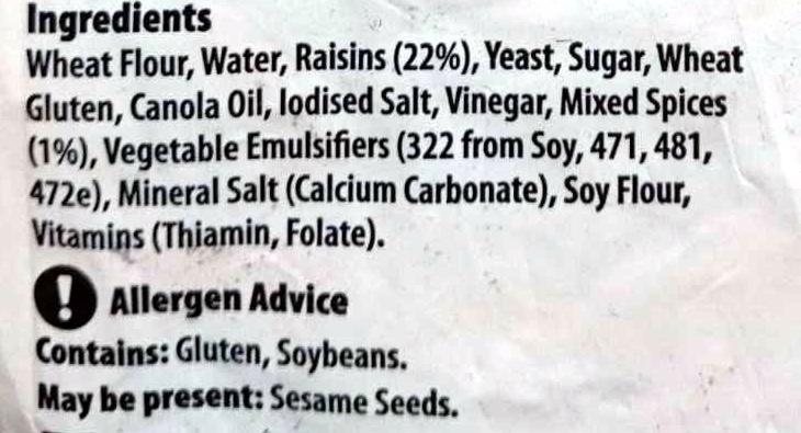 Raisin Toast - Ingredients - en