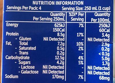 Original soy milk - Nutrition facts - en