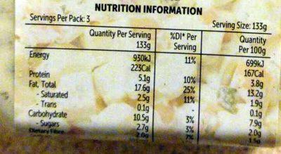 Potato, Egg & Bacon Salad - Nutrition facts - en