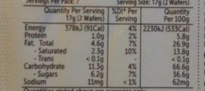 vanilla wafers - Nutrition facts - en