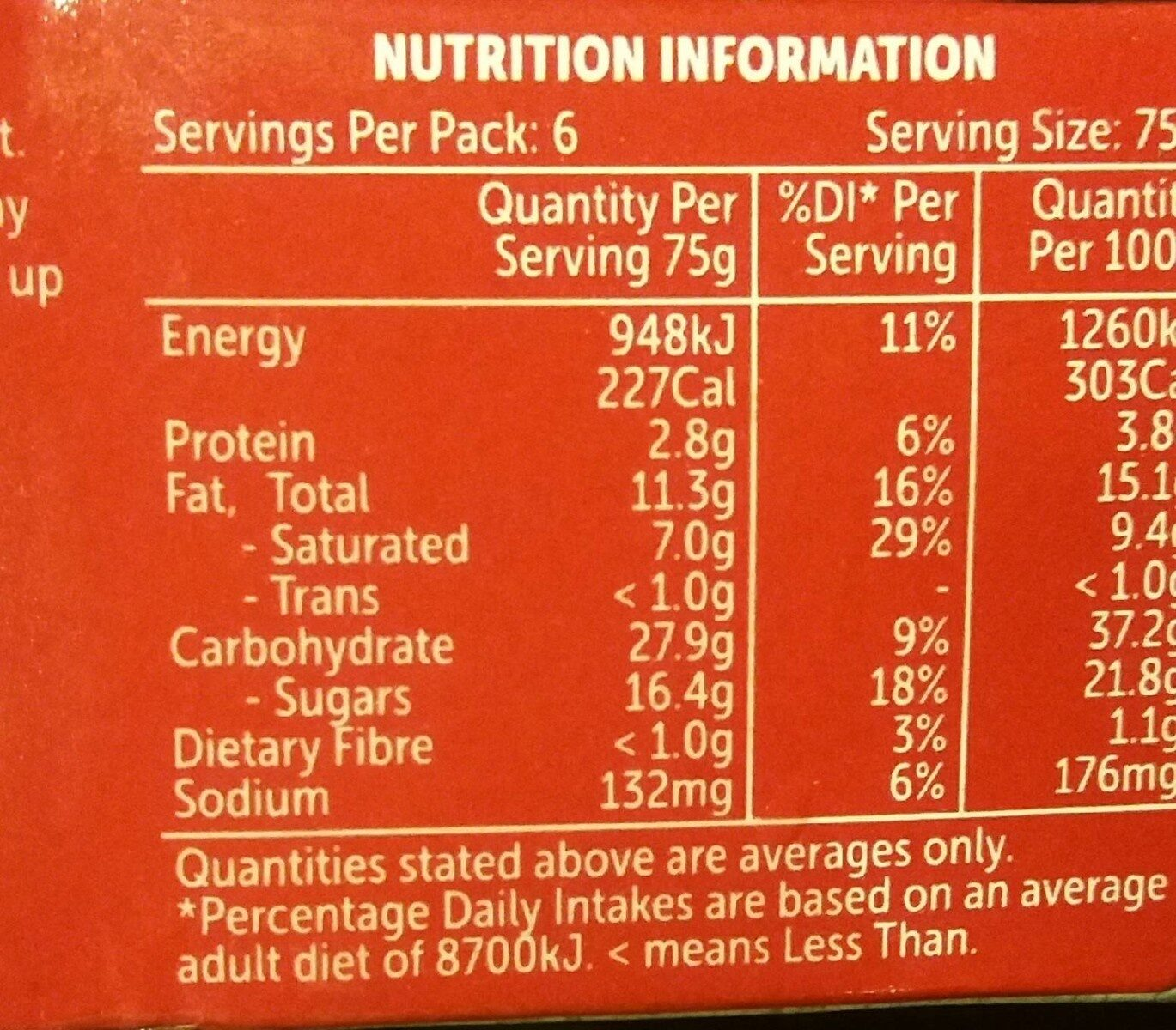 Cheesecake - Nutrition facts - en