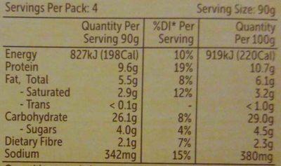 Roasted vegetables & feta - Nutrition facts - en