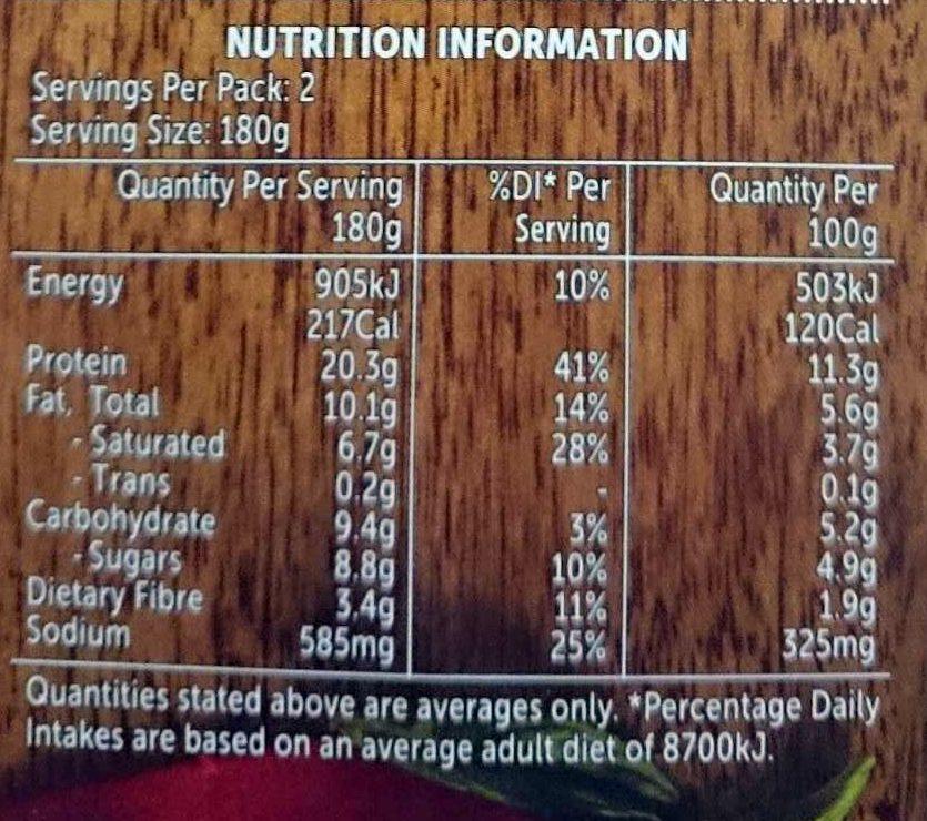 Beef Madras - Nutrition facts - en