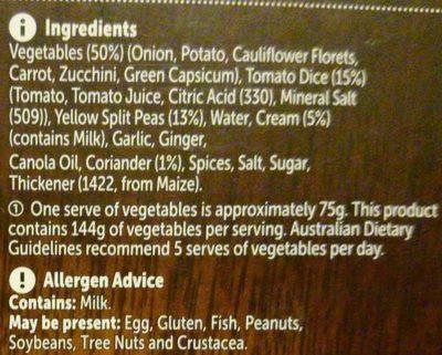Vegetable Dhal - Ingredients