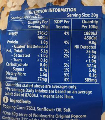 original popcorn - Ingredients