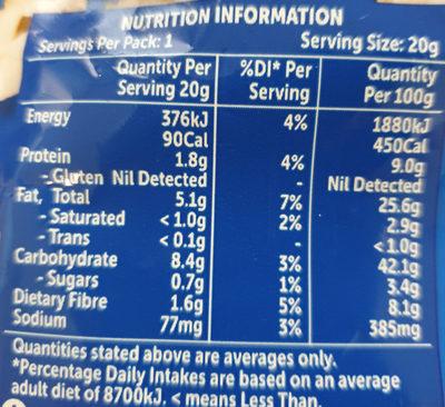 original popcorn - Nutrition facts