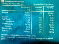 Soft White Wraps - Nutrition facts