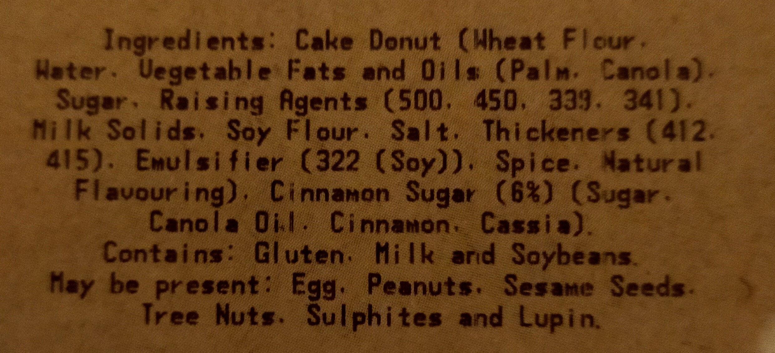 Cinnamon Donut 12pk - Ingrédients - en