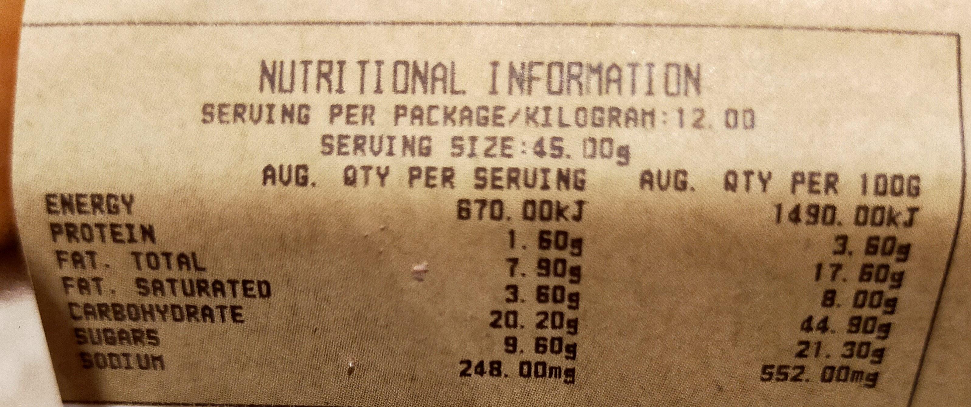 Cinnamon Donut 12pk - Informations nutritionnelles - en