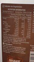 Chocolate flavoured milk - Voedigswaarden