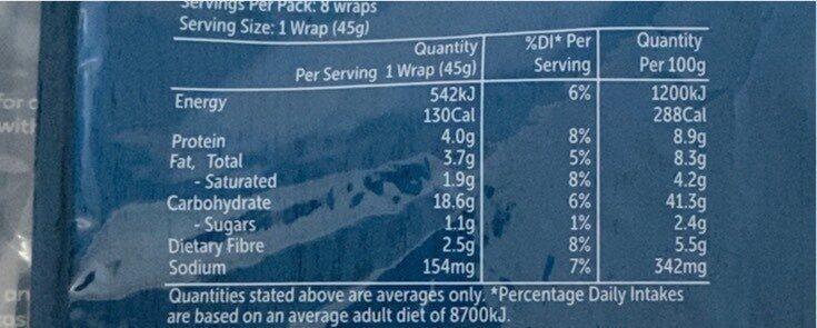 Soft White Wraps - Nutrition facts - en