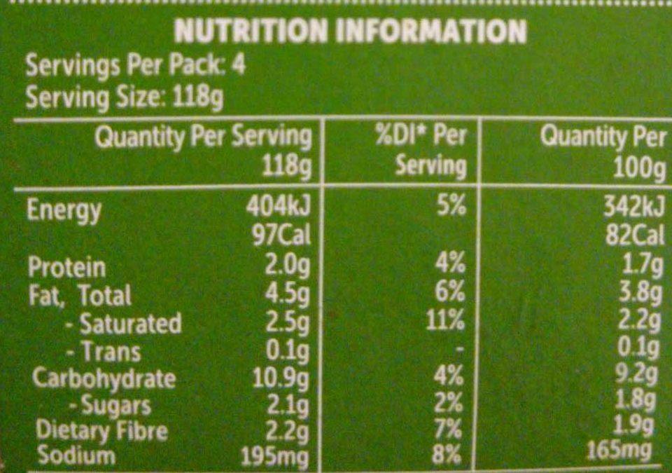 Vegetable mash - Nutrition facts - en