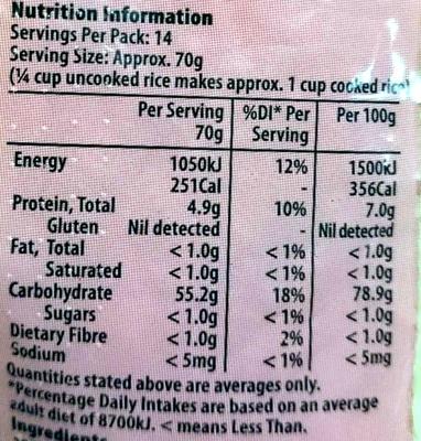 Australian Medium Grain White Rice - Nutrition facts