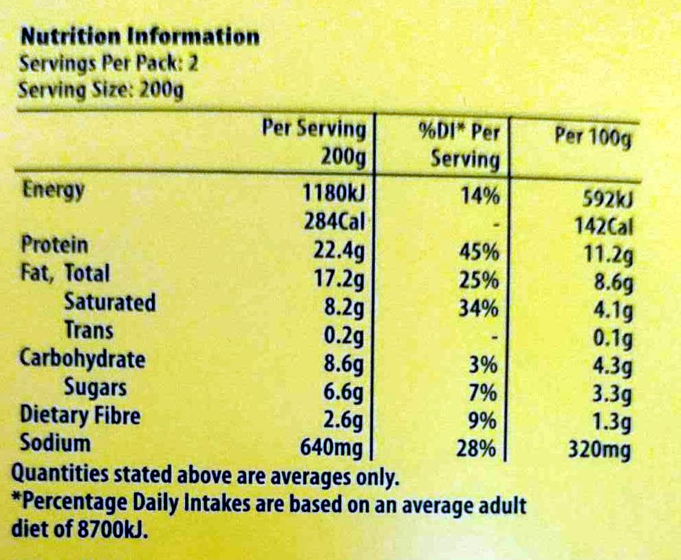 Butter Chicken - Nutrition facts - en