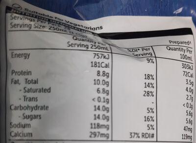 Full Cream Milk Powder - Informations nutritionnelles - en